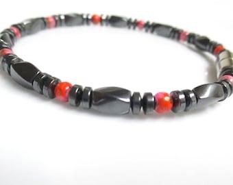Magnetic Bracelet, Magnetic Therapy Bracelet, Magnetic Red Picasso and Magnetic Hematite Bracelet