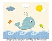 Whale art print, kids art print, poster, nursery wall art, children room art, ocean animal, sea, fish,
