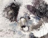 "Martinefa's Original watercolor and Ink, presented in hand personalised frame - ""Koala"""