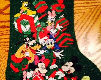Sale Disney Mickey Mouse and Gang Christmas Stocking Machine Embroidered on Glitter Felt