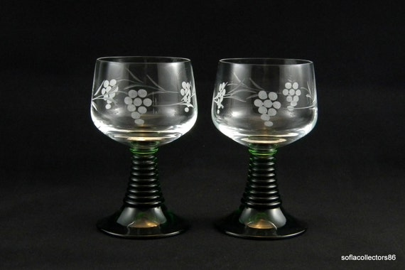 Schott-Zwiesel Crystal Water Glasses / Wine Glasses - Cut Grapes with Trailing Leafy Vine on Green Ruwer Stem - Vintage 1970s Stemware