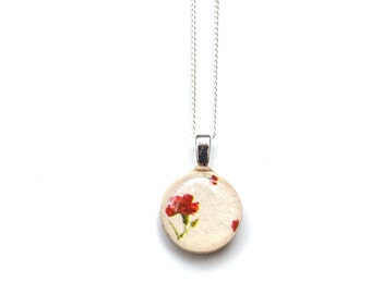 Tiny wood red flower necklace summer outdoors tiny pendant necklace gift flower jewelry casual jewelry retro jewelry by starlight woods
