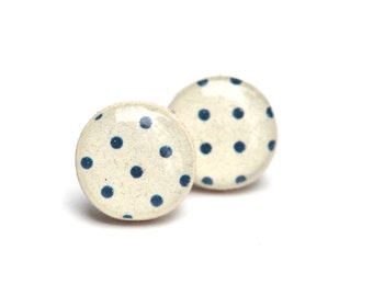 Navy blue polka dot studs post earrings navy earrings polka dot studs eco friendly jewelry wood earrings, minimalist jewelry starlight woods