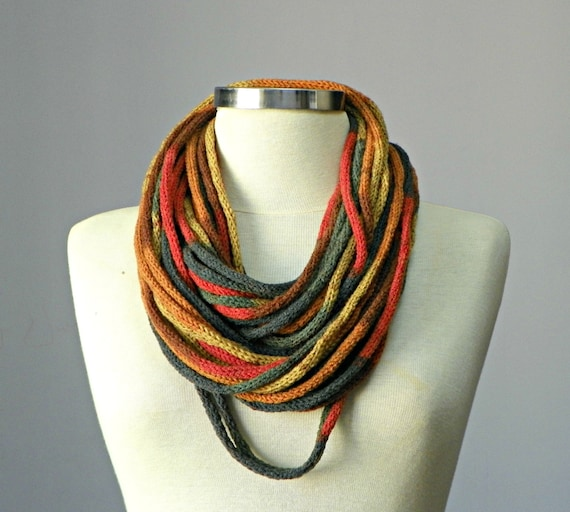 Knit tube Infinity scarf fiber necklace colorful loop