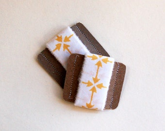 fabric ribbon, hand torn, hand frayed ribbon, cotton, reusable ribbon, arrow, tribal, geometric, southwestern design, yellow white, set of 2