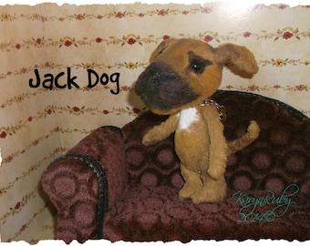 PDF EPattern  to make 6.5 inch 'Jack Dog' ~ PitBull/Boxer  Vintage Style Viscose or Mohair by Artist KarynRuby