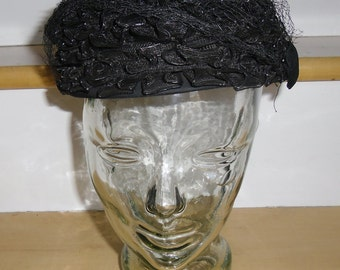 Vintage Black Hat - Black Braid - Black Veil