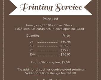 4x5.5 Professional Printing Service, prints & envelopes