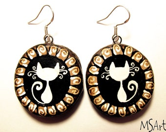 Handmade wooden earrings with white cats (black & white, beige, brown, retro)