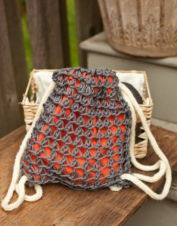 Knitting Pattern For A String Bag : Knitting PATTERN draw string bag knit and sewn 10