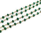 Gold Plated Faceted Green onyx gemstone wire wrap beaded chain rolls , rosary chains, Beads Chain Spools wholesale jewelry making supplies