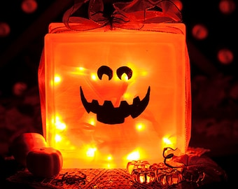 Halloween Pumpkin - Lighted Glass Block - Hand Painted Jack o Lantern - Halloween Decor Light - Fall Decor - Orange LED Lights