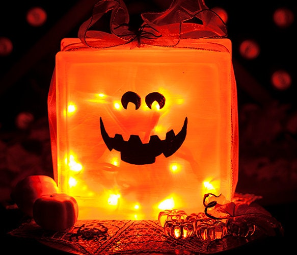 Halloween pumpkin lighted glass block hand by recyclethyme