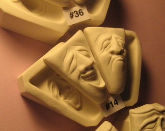 YOUR CHOICE SET  - Rigid Polymer Clay Push Press Molds of Comedy Tragedy Face Cabs