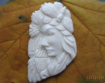 Best quality  Hand Carved Unique  Goddess, Spirit Lady and dragon fly , buffalo bone carving ,  Jewelry Supplies S3290