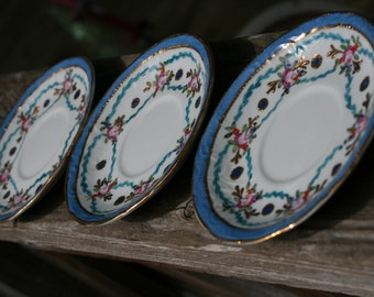 Vintage Set of 3 Limoges Hand Painted Saucers, Blue and Gold Floral Limoges Plates.