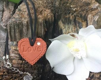 "Sparkle"" Love Heart Terra Cotta Essential Oil Diffuser Pendant for Aromatherapy Necklace"