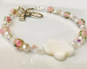 First Communion Bracelet-  Sterling Silver with Hand Painted Rose Beads and Fresh Water Pearls