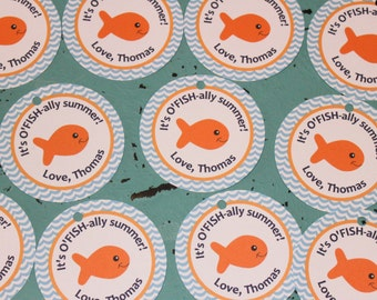 O'FISH'ALLY GOLDFISH First or Last Day of School  Favor Tags or Stickers 12 {One Dozen} - Party Packs Available