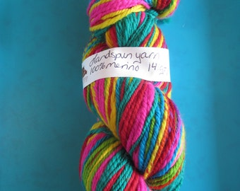 Hand spun  merino yarn - a rainbow of flashy colours - sport weight/dk