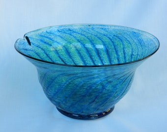 Hand blown blue-green glass bowl with herringbone pattern