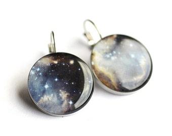 Stardust earrings, Surgical steel earring, Nebula earrings, Space French clip earring, Universe Leverback earring