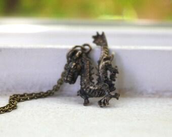 Dragon Necklace - // Antiqued // Dragon // Necklace
