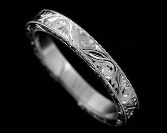 Engraved Women's Wedding Ring, Scroll Carved Wedding Ring, Art Deco Wedding Band, New Vintage Wedding Band, Milgrain Flat Gold Band 2.75mm
