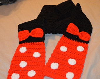 Minnie Mouse Inspired Fashion Scarf in Hot Red
