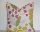 Kravet -  Berry Floral in Pink - Accent Pillow - Sofa Pillow - Designer Pillow Cover - Gold - Green