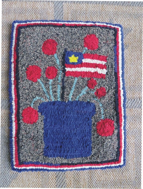 Country Crock Hand hooked Rug.