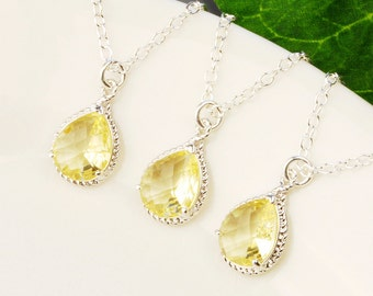 Bridesmaid Jewelry Set - 5 % OFF SET OF 3 Yellow Bridesmaid Necklace - Silver Yellow Citrine Glass Pendant Necklace - Wedding Jewelry