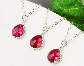 Bridesmaid Jewelry SET OF 4 Red Necklaces - 8% Off Ruby Red Bridesmaid Necklaces - Wedding Jewelry Set - Silver Red Glass Pendant Necklace