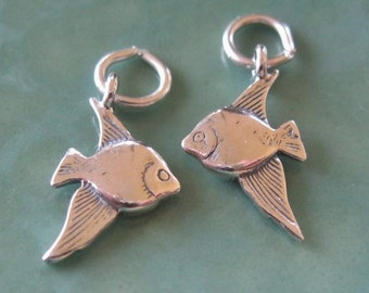 Charm Angel Fish Sterling Silver Goldfish Nautical Ocean Pisces 925 Charm 1 Pair
