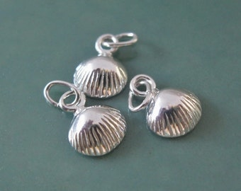 3 Little Sea Shell Charms Sterling Silver Sea Life Clam Nautical 9 mm