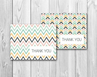 Thank you card, yellow and gray, gray and yellow, baby shower, instant download, printable