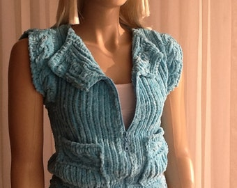 Custom Order - Softy ADULTS 2 - Hand Knitted Sweater / Hand Knitted Vest / Cable Knit Sweater / Sleeveless Vest / Zipper / Pockets / Buttons