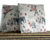 Paris pillow covers, cushion case, beige pillow, 16x16
