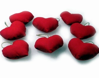 Red hearts for home decoration -  8 red heart decoration - home