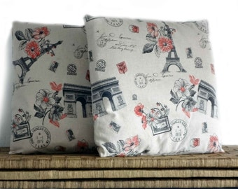 Paris pillow covers, cushion case, beige pillow, 16x16