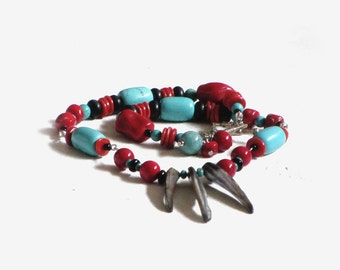 Southwest Inspired Beaded Red Coral Onyx Howlite Tribal Necklace Large Bright Bold Ethnic Jewelry