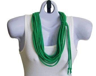 FABRIC NECKLACE, Lime Green, St Patricks Day, Recycled Tshirt Fabric, Upcycled Tshirt Scarf. Ready to Ship