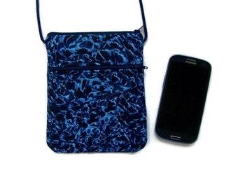 Hipster Mini Sling  Blue on Blue Batik