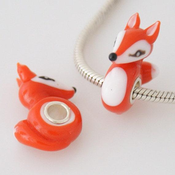 1 Bead - Orange Fox Animal Sterling Silver Core .925 Lampwork Glass European Bead Charm GJ2260 LC0030 1 Bead Orange Fox Animal Sterling Silver Core .925 by 95Boutique - 웹