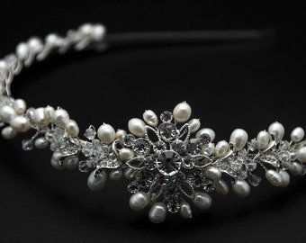 Bridal Headband,  freshwater Pearl, Rhinestone Bridal Headband, Crystal Wedding Headband, Wedding Bridal Hair Accessories