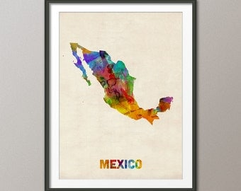 Mexico Watercolor Map, Art Print (996)