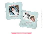 INSTANT DOWNLOAD - Birth announcement photo card template - 5x5 ornate card - Hello Thomas - E488