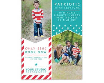 INSTANT DOWNLOAD - 4th of July - Photography Marketing board - Psd Newsletter  template - E1048