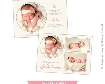 INSTANT DOWNLOAD - Birth announcement photoshop template - Cream rose - E429