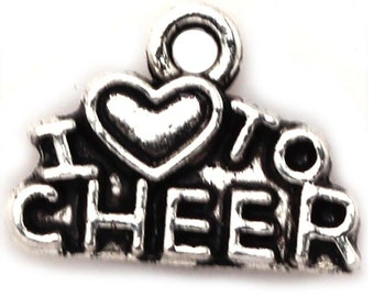 Love To Cheer, 10 Charms Antique Silver Tone 14 x 10 mm - ts528